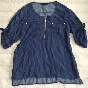 Ellen Tracy Sz xl cute blue top with gold hardware